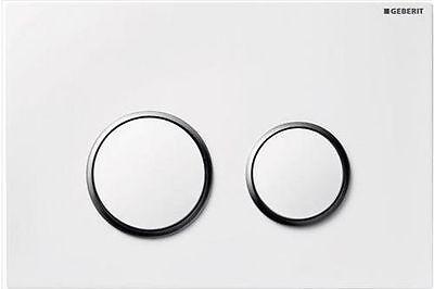 White/Gloss Chrome Dual Flush Plate for UP320 By Geberit GB.115.778.KJ.1