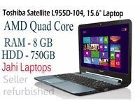"""Toshiba Satellite L955D-104, 15.6"""" Laptop, AMD Quad Core, 8GB, 750GB HDD-0575"""