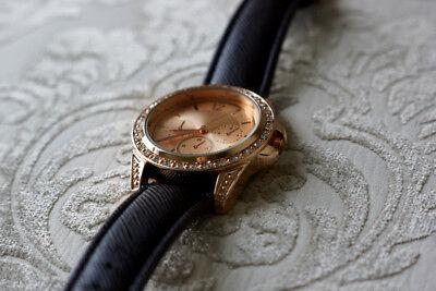 Women Analog Quartz Round Dial Rhinestone Bezel Dress Wrist Watch, Rose Gold, EC Bezel Round Wrist Watch