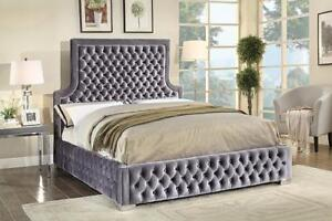 Grey Velvet Fabric High Back Queen Bed (IF817)