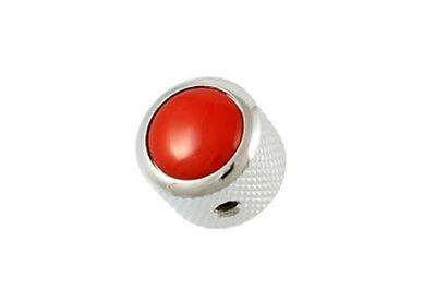 NEW Q Parts DOME KNOB Chrome & Red Top Fits Strat Tele & Bass MK-3177-010