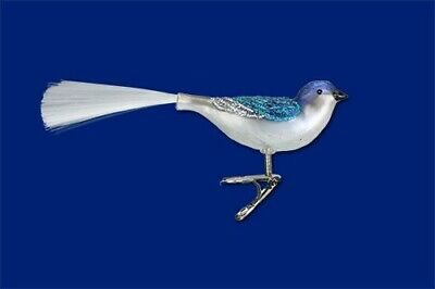 """Set 6  Brand New 3.5"""" Glass Dove Ornaments w//Gold Glitter On Wings and Tail."""