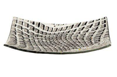 (Passover Artisanal Black / Gray Glass Matzah Plate Spots design 10