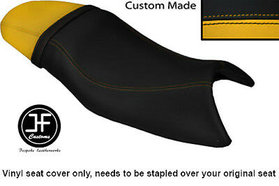 BLACK AND YELLOW VINYL CUSTOM FITS TRIUMPH SPEED FOUR 600 DUAL SEAT CO