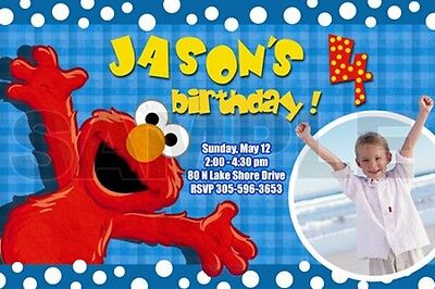 Sesame Street Photo Invitations (ELMO SESAME STREET BIRTHDAY PARTY INVITATION PHOTO 1ST CUSTOM - INVITES)