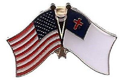 USA & Christian Flag Friendship Crossed Flags Lapel Hat Pin (Made in USA) Christian Flag Lapel Pin
