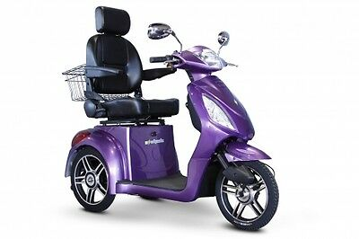 EWheels Purple EW-36 Elite Mobility Scooter, Electric 3 Wheel Cart, 350 lb Cap