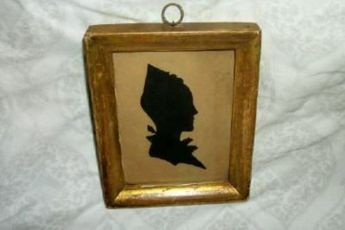 ANTIQUE EARLY 19th c. SILHOUETTE HAND CUT COLONIAL WOMAN OLD GLASS BUBBLES GILT