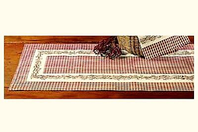 New Country Primitive Burgundy Wine Check BERRY VINE Table Runner Extra Long - Extra Long Table Runners