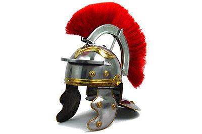 Medieval Roman Centurion Helmet Armor w/ Red Crest Plume Gladiator Costume Helm ()