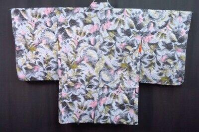 Vintage Ladies' Japanese Blue/Black/Gold Art Print Crepe Kimono Haori Jacket XS