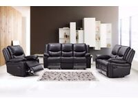 Stylish and Elegant 3&2 Leather Recliner Sofa Suite, Free Delivery