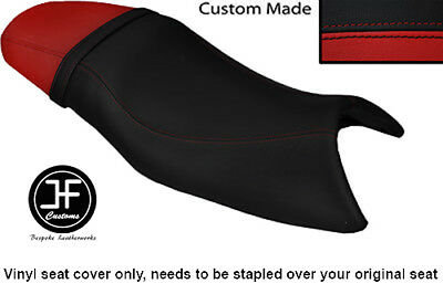 BLACK AND DARK RED VINYL CUSTOM FITS TRIUMPH SPEED FOUR 600 DUAL SEAT