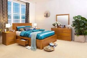 CLAREMONT TASSIE OAK QUEEN BEDROOM SUITE Villawood Bankstown Area Preview