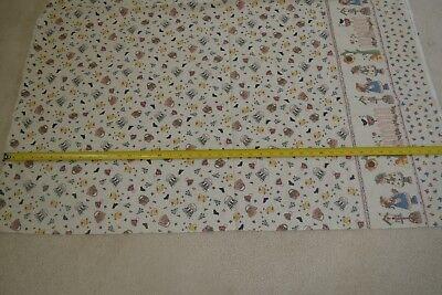 By 1/2 Yd, Garden Theme on Tan Quilting Cotton w Border, Stubbs/Spectrix, M7458 Garden Cotton Quilt Fabric Border