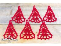 6 Crochet Red Bells Handmade Christmas Tree Decoration Vintage Revelations