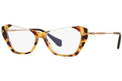 b89efa800c75 Miu Miu VMU04O HAN-1O1 Matte Tortoise Gold Cateye RX Eyeglasses 52mm MU 04O