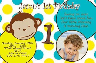 MOD MONKEY BIRTHDAY PARTY INVITATION PHOTO 1ST BABY SHOWER PERSONALIZED C6