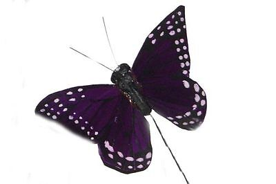 """24 2""""  Artificial Feather Butterfly Purple Craft Fake Butterflies BF2267X24"""