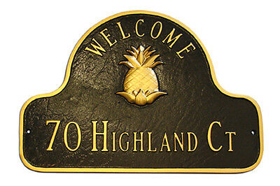 Pineapple Welcome House - Pineapple WELCOME Address Plaque Lawn House Sign Numbers wall Custom