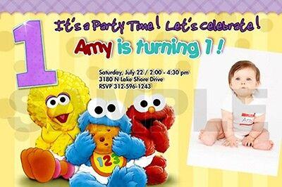 Sesame Street Photo Invitations (ELMO SESAME STREET BIRTHDAY PARTY INVITATION PHOTO 1ST BABY CUSTOM INVITES -)
