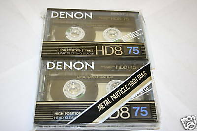 Denon HD8-75 Two Pack Metal Particle High Bias Casssette Tapes Made in Japan