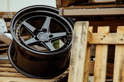 ::18x9.5 / 18x10.5 5x114.3 +22 Aodhan DS05 Gloss Black 18 Inch Wheels Set 4 Rims