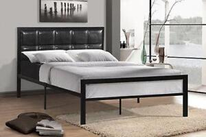 Black Metal Queen Bed With a Padded Black Headboard web exclusive deal (IF684)