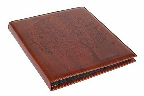 "Brown Faux Leather Family Photo Album with Embossed Tree, Max. 500 4x6"" Prints"