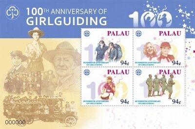 Palau- Girl Guiding 100th Anniversary Stamp Sheet of 4 MNH
