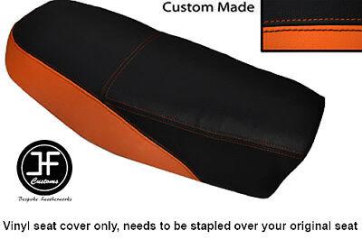 BLACK AND ORANGE VINYL CUSTOM FITS <em>YAMAHA</em> DT 50 MX DUAL SEAT COVER ONL