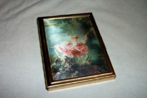 VINTAGE LADIES PURSE COMPACT PHOTO ALBUM METAL SATIN PRINT