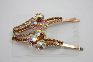 Hair-Pins-Amber-Colored-Jeweled-Pair-NEW