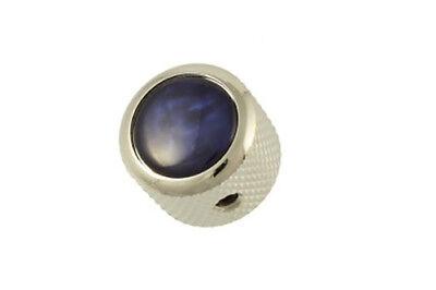 NEW Q Parts DOME KNOB Chrome & Blue Pearloid Top Fits Strat Tele MK-3173-010