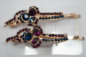 Hair-Pins-Amethyst-Colored-Jeweled-Pair-NEW