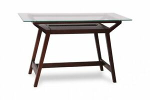CLEAR GLASS TOP WOODEN DESK