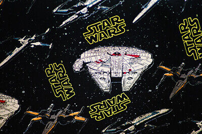 BLACK STAR WARS MILLENNIUM FALCON 100% COTTON FABRIC WITH MOVIE LOGO - LICENSED