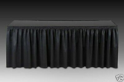 14 ft Polyester Pleated Table Skirt, Black Table Skirts USA Made Not Cheap China