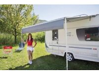 Fiamma Caravanstore 360 grey striped roll out canopy awning (included extra) leg fixing plate kit