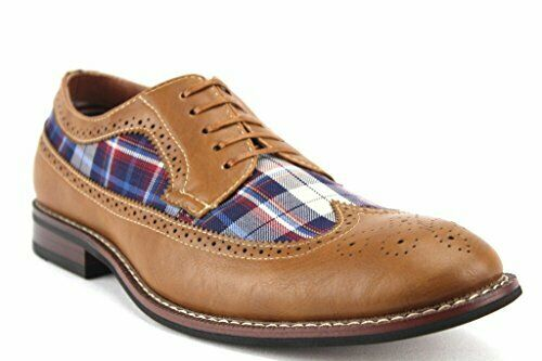 Men's Ferro Aldo 19312D Leather Lined Wing Tip Plaid Print Oxfords Dress Shoes