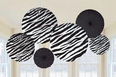 Zebra Print Party Supplies Paper Fan Decorations 6ct. - Zebra Party Decorations