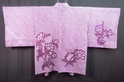 Vintage Japanese Red/Purple Silk 'Flowers' FULL SHIBORI Kimono Haori Jacket MED