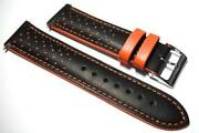 Orange Leather Watch Strap