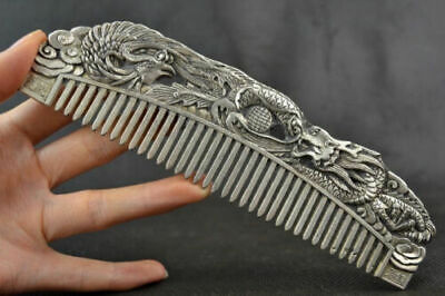 Exquisite Chinese handwork old Tibet-Silver Carved Dragon antique Jade FluteCCC