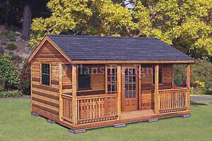 ... 12' Cabin / Guest House Building Covered Porch Shed Plans #P62012