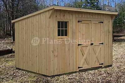 - 7' x 12' Modern Storage / Lean-To Garden Shed Plans, Design #80712