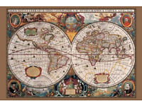 17th Century World Map Gold Ink Poster 61 cm x 91.5 cm