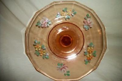 Depression Glass Pink HP Roses Floral Compote Stunning Cottage Chic Shabby