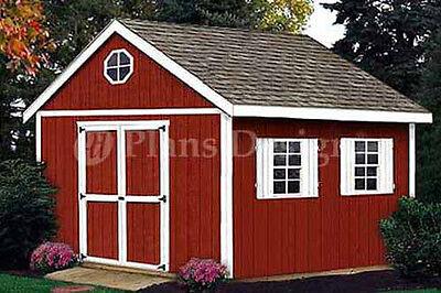 12 x 10 Garden Wood Storage Backyard Outdoor Shed Plans, Design # 21210