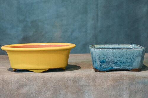 High Quality Chinese Bonsai Pot -  SET OF 2 CERAMIC GLAZED POTS